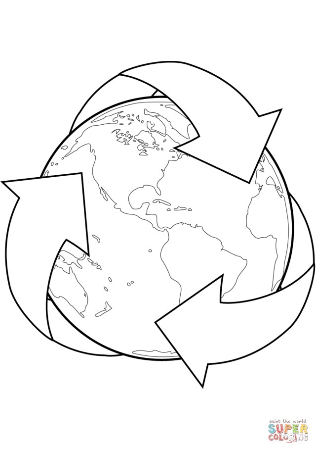 Earth Coloring Pages Recycle Sign With Earth Coloring Page Free Printable Coloring Pages