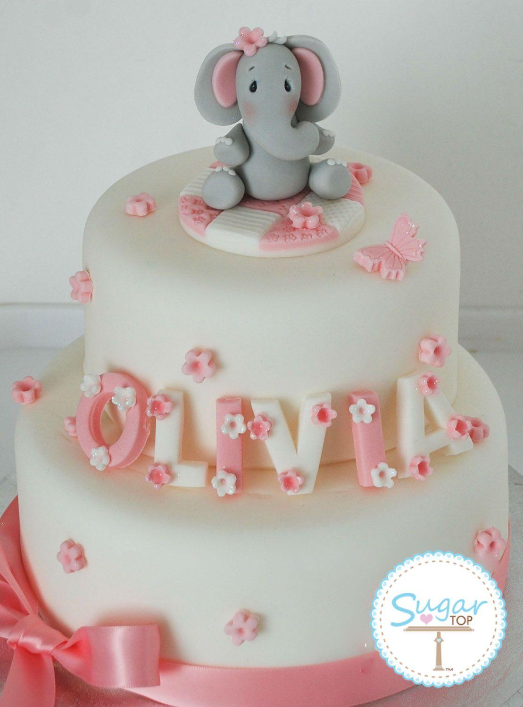 Elephant Birthday Cakes Elephant Cake Topper Decoration Set Christening Birthday