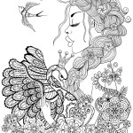 Fairy Coloring Page Coloring Page Coloring Page Fairy Pages For Adults Woman Swan And