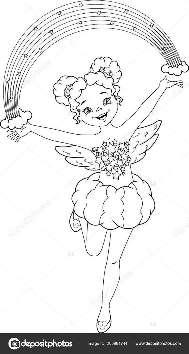 Fairy Coloring Page Rainbow Fairy Coloring Page Stock Vector Malyaka 203981744