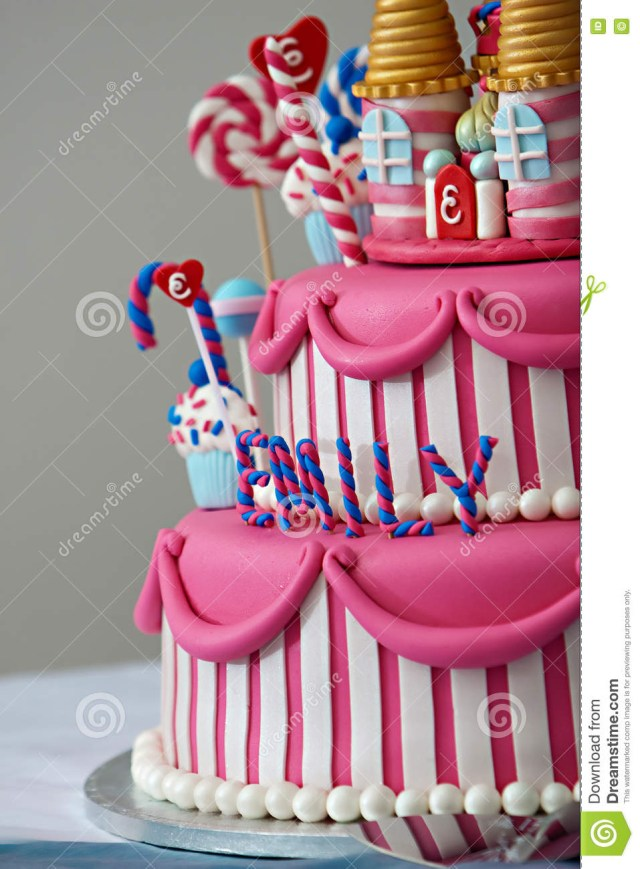Fancy Birthday Cake Birthday Cake Stock Image Image Of Happy Frosted Pink 69701591