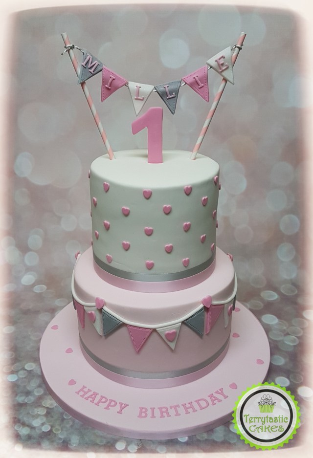 First Birthday Cakes For Girls Pink Grey Bunting 1st Birthday Cake Girl Terrytastic Cakes