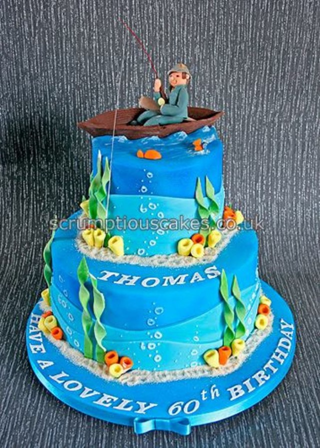Fishing Birthday Cakes Fishing Theme Birthday Cake Cakecentral