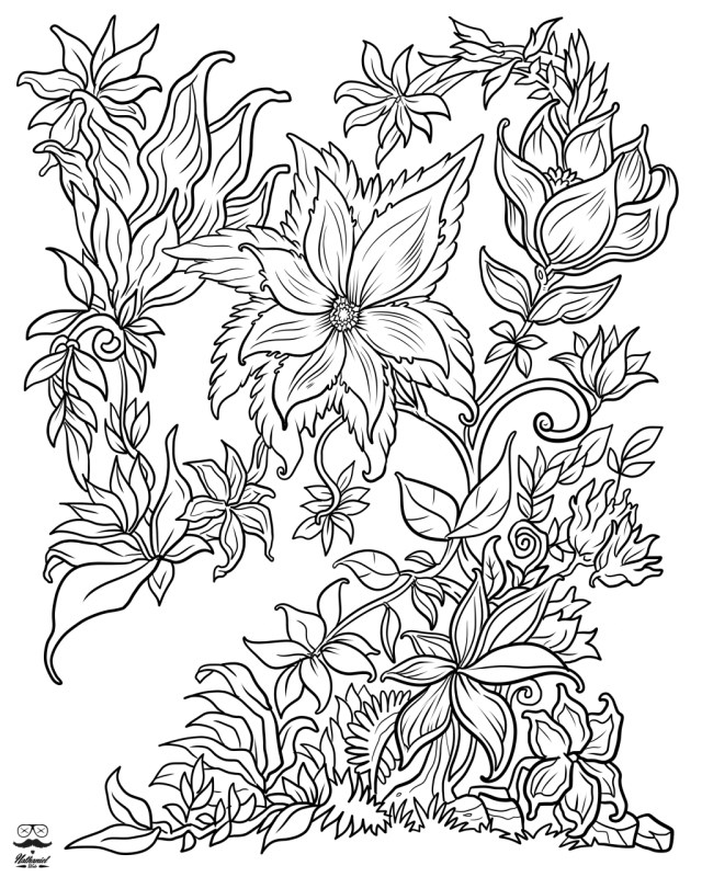Flower Adult Coloring Pages Coloring Page Flower Adult Coloring Pages