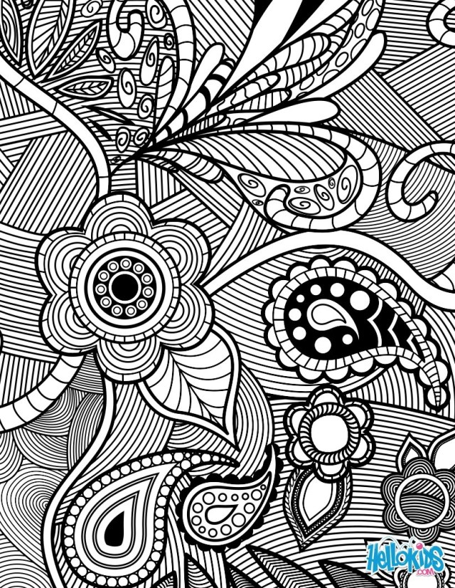 Flower Adult Coloring Pages Flowers Paisley Design Coloring Pages Hellokids