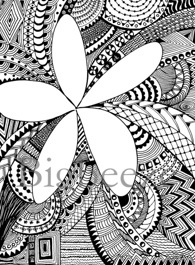 Flower Adult Coloring Pages Plumeria Flower Adult Coloring Pages Zentangle Artpen And Etsy