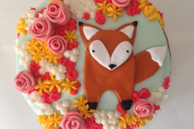 Fox Birthday Cake Afton Turns 1 A Fox In The Flowers Carrot Creamcarrot Cream