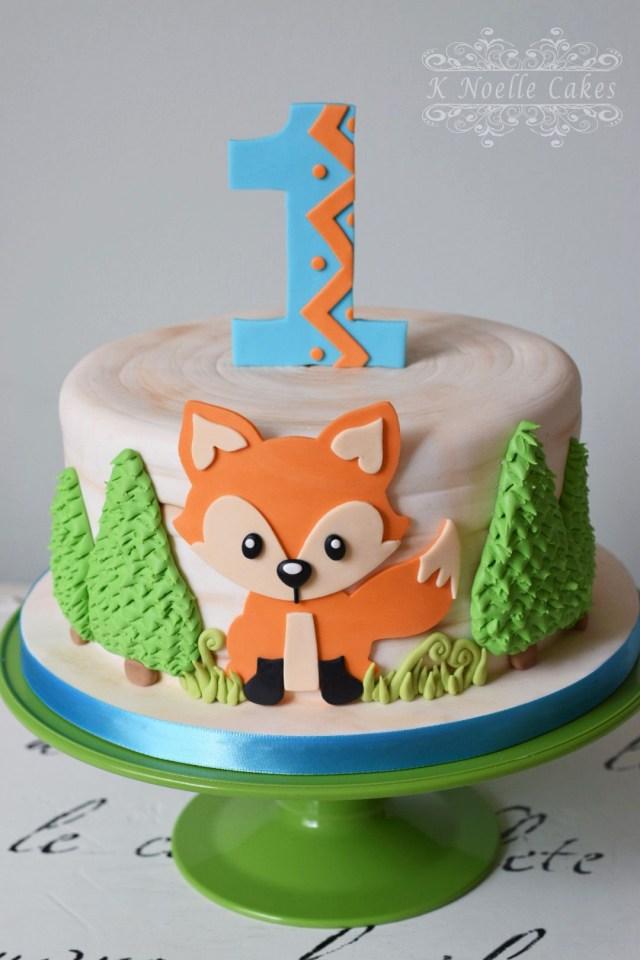 Fox Birthday Cake Fox Theme 1st Birthday Cake K Noelle Cakes Cakes K Noelle