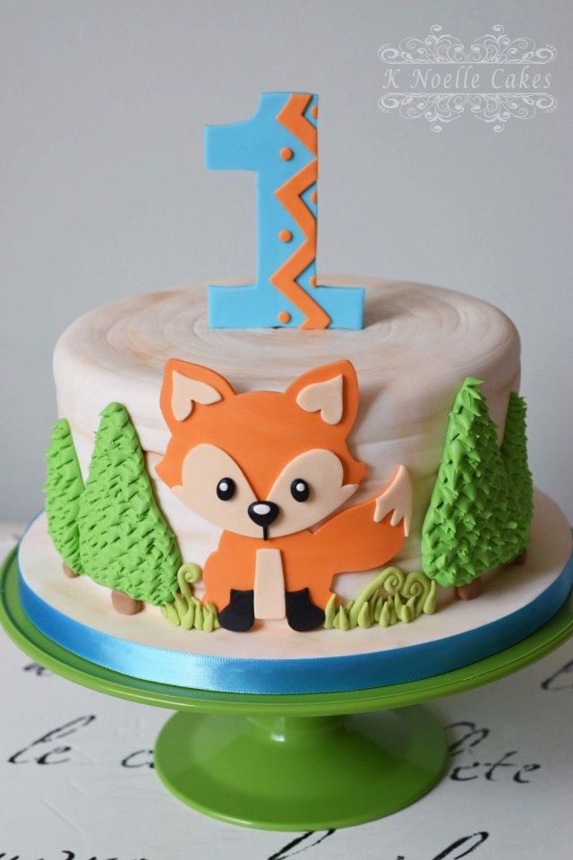 Fox Birthday Cake Fox Theme 1st Birthday Cake K Noelle Cakes Cakes K Noelle