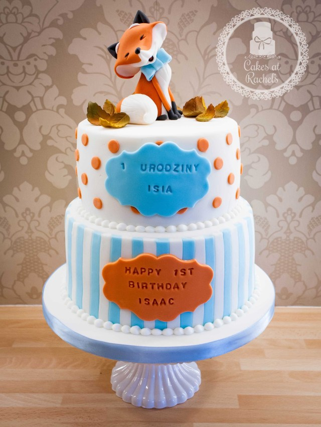 Fox Birthday Cake Orange And Blue Happy Little Fox 1st Birthday Cake Topper Inspired