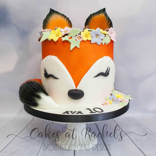 Fox Birthday Cake Sleepy Little Fox Cake For Little Girls 10th Birthday Cakes