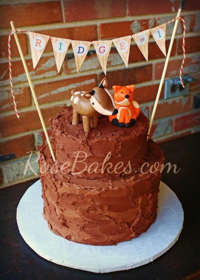Fox Birthday Cake Woodland Animals Camping Birthday Cake Rose Bakes