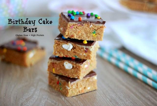 Free Birthday Cake Feeding My Addiction Guilt Free Birthday Cake Bars