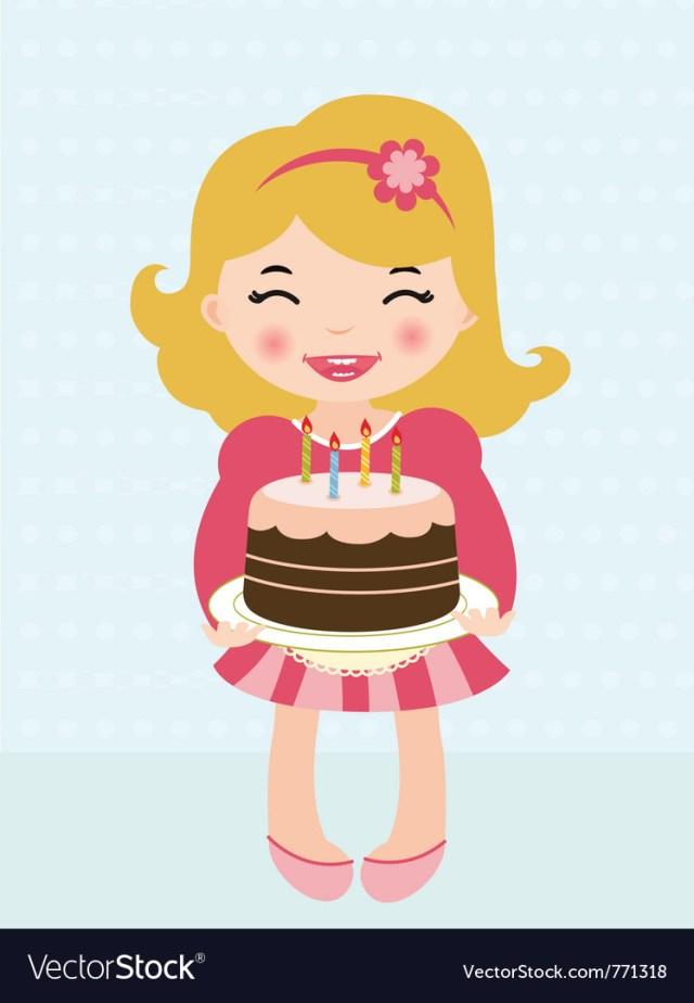 Girls Birthday Cake Little Girl Birthday Cake Royalty Free Vector Image