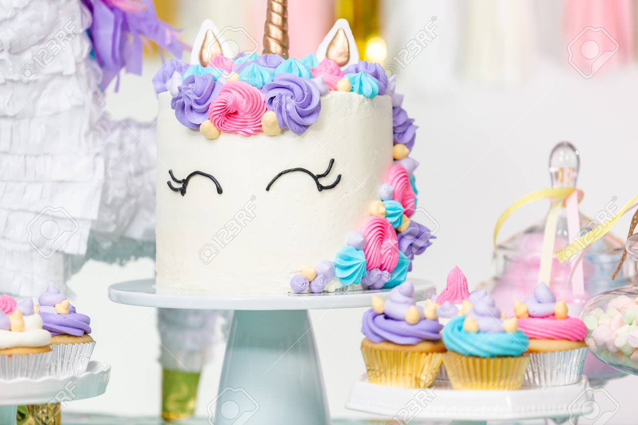 Girls Birthday Cake Little Girl Party Table With Unicorn Cupcakes And