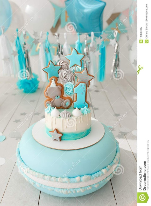Girls First Birthday Cake First Birthday Cake With White And Blue Decor Stock Image Image Of