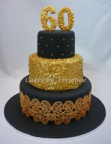 Gold Birthday Cake Black Gold 60th Birthday Cake Cakecentral