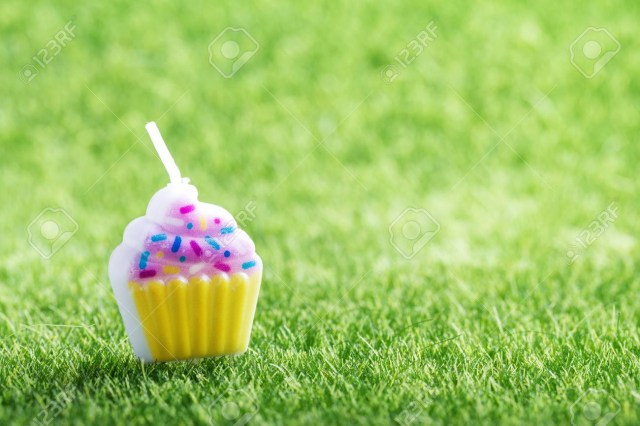 Green Birthday Cake Birthday Cake Candle On Green Grass Background Holiday Celebration
