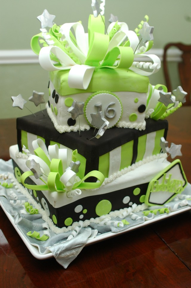 Green Birthday Cake Lime Green 16th Birthday Cake Cake Decorating Pinterest