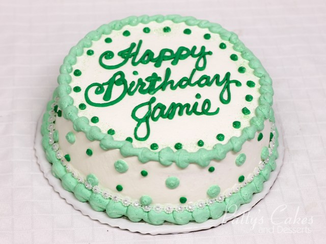 Green Birthday Cake Photo Of A Birthday Cake White Green Round Pattys Cakes And Desserts