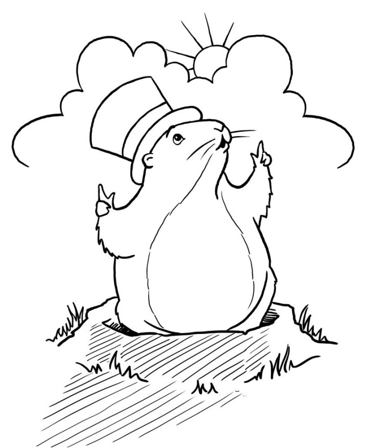 27+ Amazing Picture of Groundhog Day Coloring Pages Free Printable