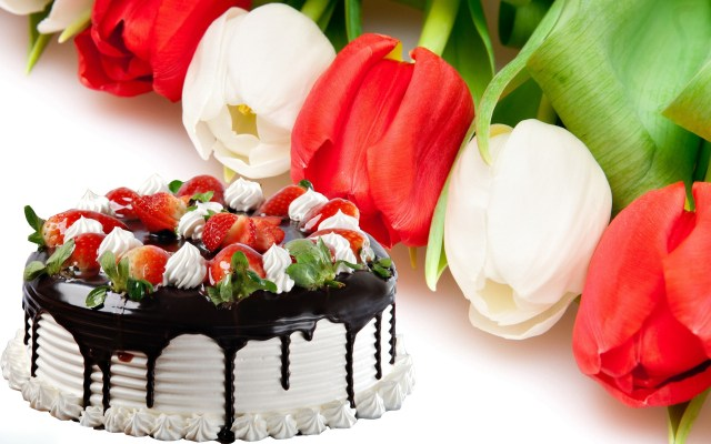 Happy Birthday Cake And Flowers Images Cake And Flowers For Happy Birthday Pictures Wallpaperwiki