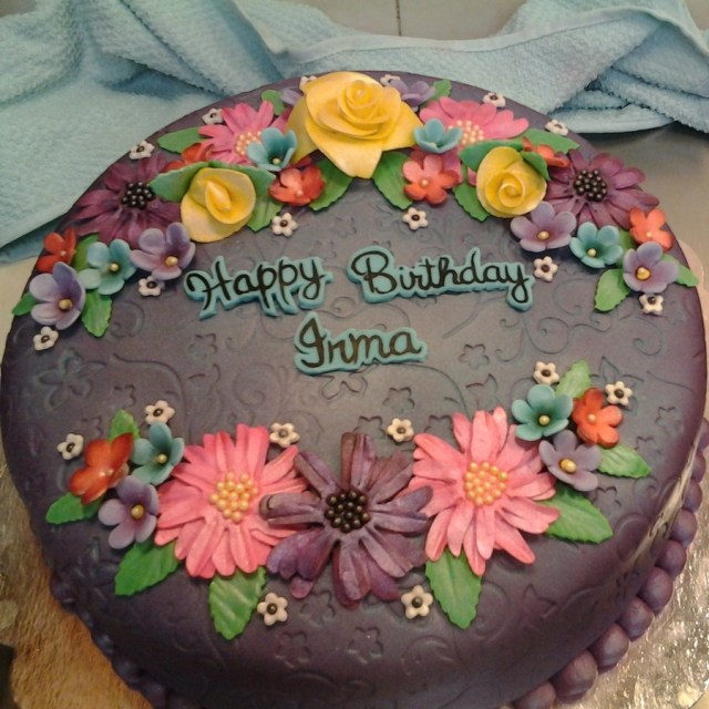 Happy Birthday Cake And Flowers Images Happy Birthday Flower Cake Hand Made Flowers With Airbrushed Details