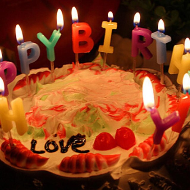 Happy Birthday Cake With Candles Lovely Colorful Happy Birthday 13 Pcs Letters Cake Sparkle Candles