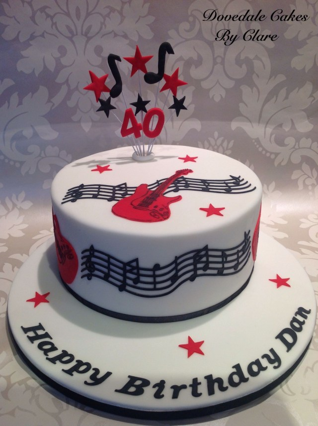 Happy Birthday Cakes For Him Musical Guitar Themed Cake For Sweetheart Cake Birthday Cake