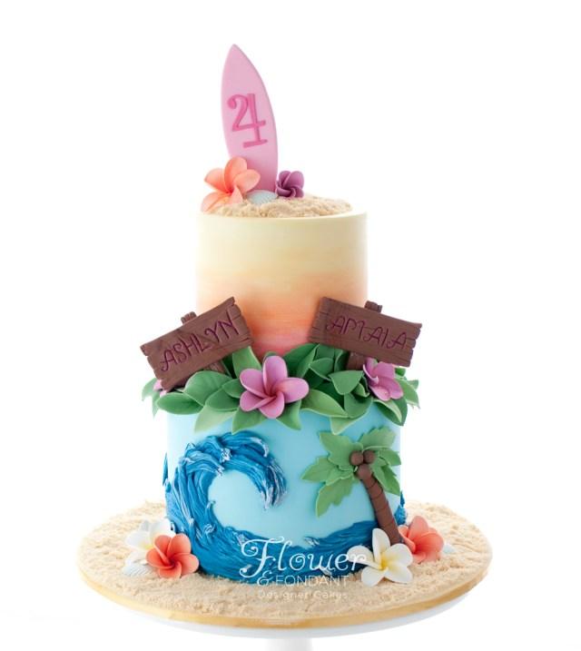 Hawaiian Birthday Cakes Hawaiian Birthday Cake Flower Fondant