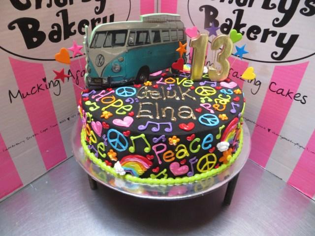 Hippie Birthday Cake Single Tier Hippie Themed 13th Birthday Cake Iced In Back Flickr