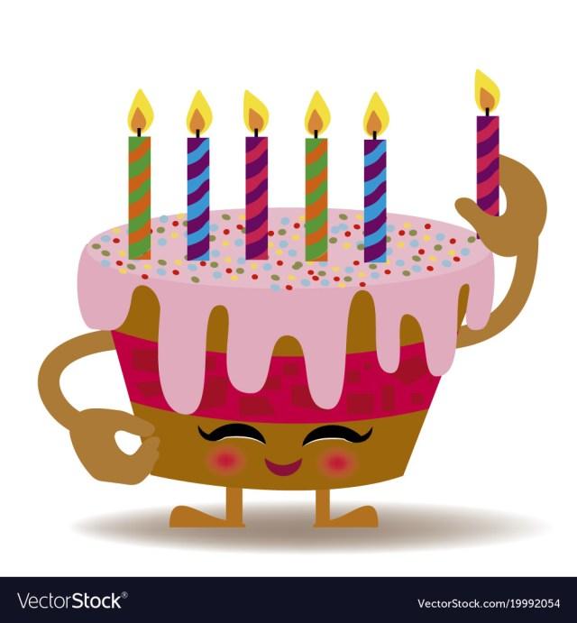 Kawaii Birthday Cake Happy Birthday Kawaii Cake Royalty Free Vector Image