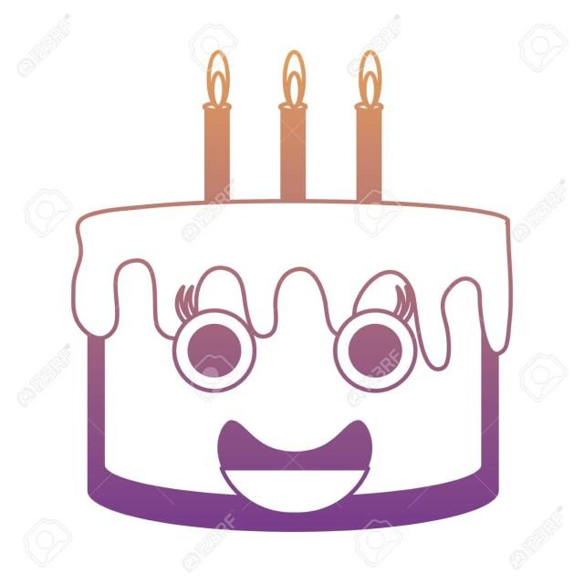 Kawaii Birthday Cake Kawaii Birthday Cake Icon Vector Illustration Royalty Free Cliparts