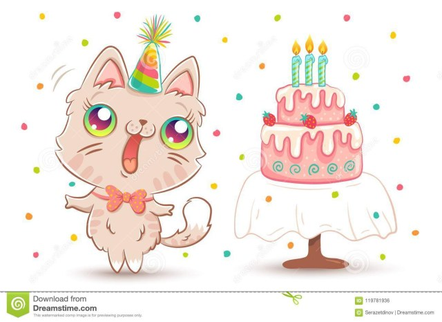 Kawaii Birthday Cake White Kitty In Birthday Hat Stock Vector Illustration Of Colorful