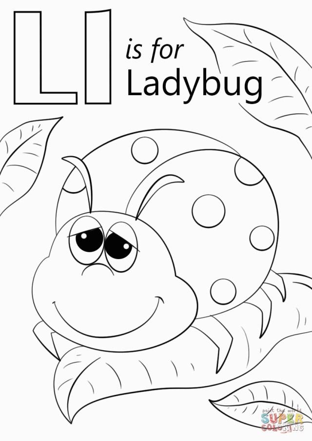 Ladybug Coloring Page Letter L Is For Ladybug Coloring Page For L Coloring Pages Get