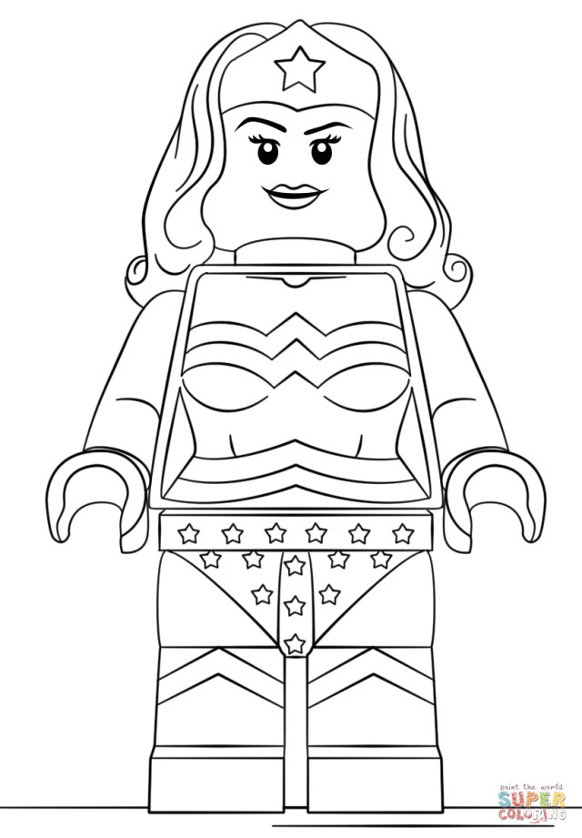 Lego Coloring Pages Lego Wonder Woman Coloring Page Free Printable Coloring Pages