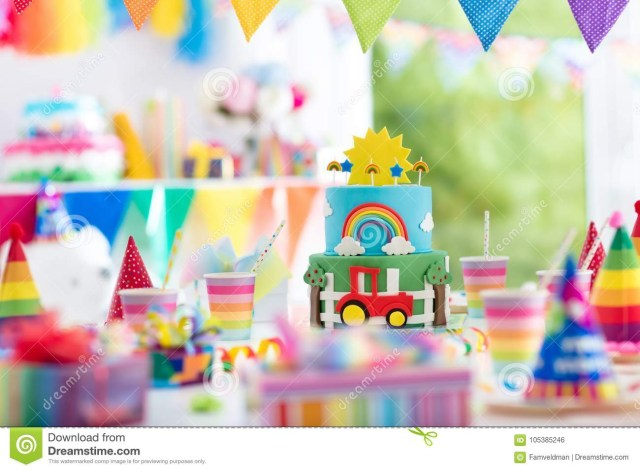 Little Boy Birthday Cakes Boy Birthday Cake For Little Child Kids Party Stock Photo Image