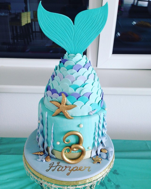 Mermaid Birthday Cakes Mermaid Birthday Cake I Made For My Daughters 3rd Birthday Yesterday