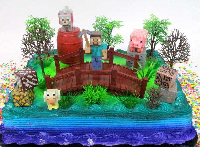 Minecraft Birthday Cake Toppers Buy Minecraft 14 Piece Birthday Cake Topper Set Featuring Random
