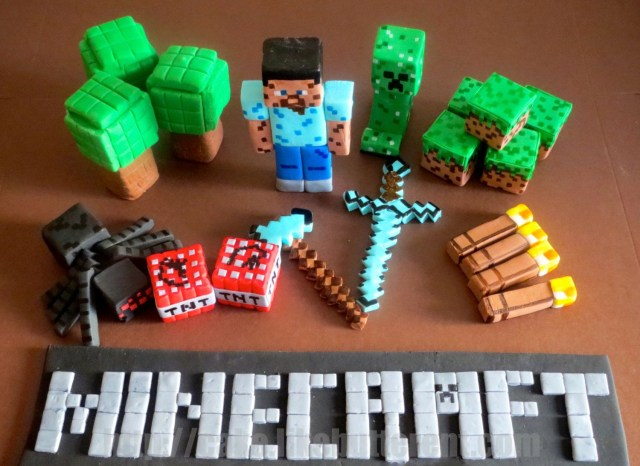 Minecraft Birthday Cake Toppers Fondant Minecraft Inspired Cake Toppers Likebutter On Etsy