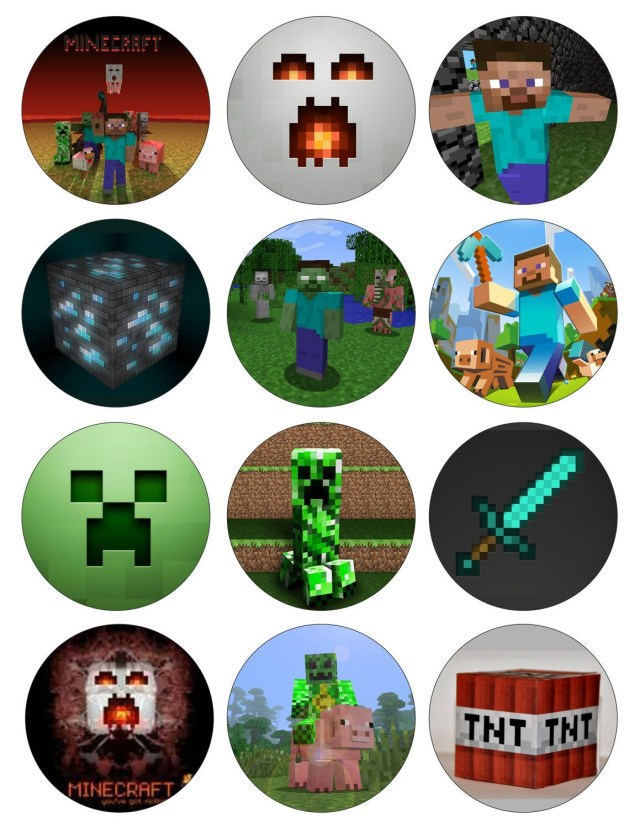 Minecraft Birthday Cake Toppers Minecraft 2 Options Digital Printable Birthday Party Cupcake