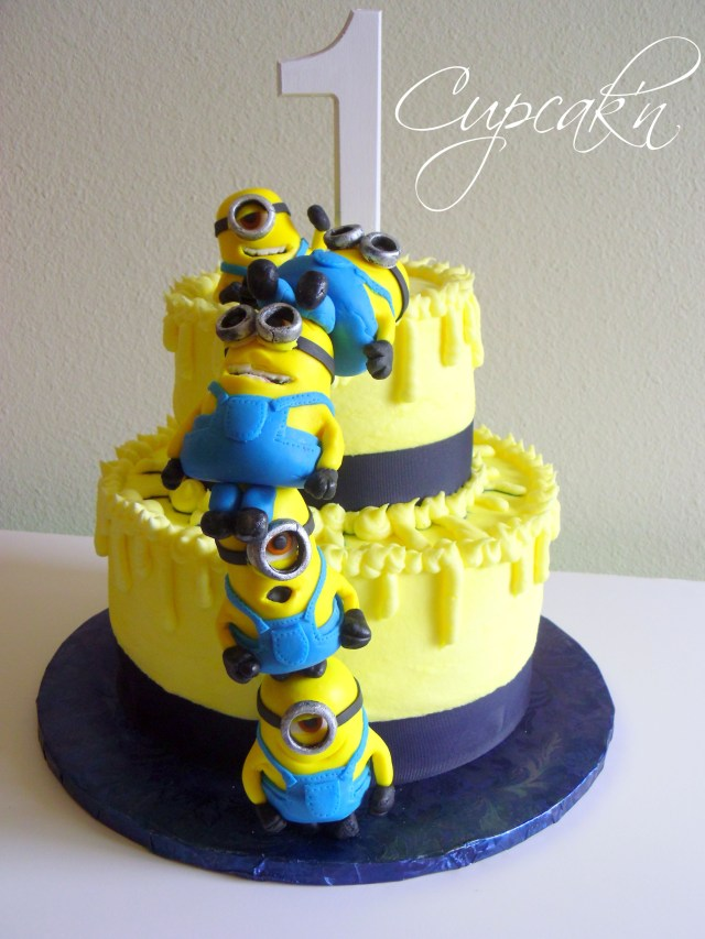 Minions Birthday Cake Birthday Cakes Despicable Me Cake With Stacked Mmf Minions