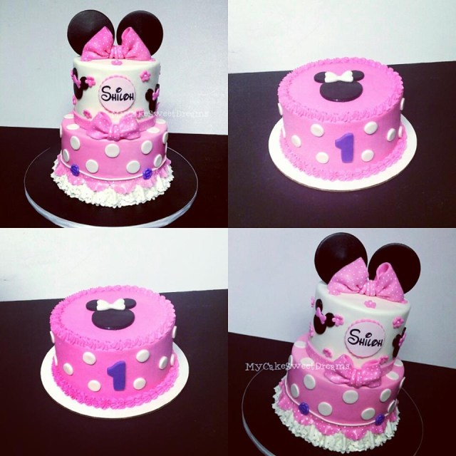 Minnie Mouse 1St Birthday Cake Mycakesweetdreams Minnie Mouse 1st Birthday Cake