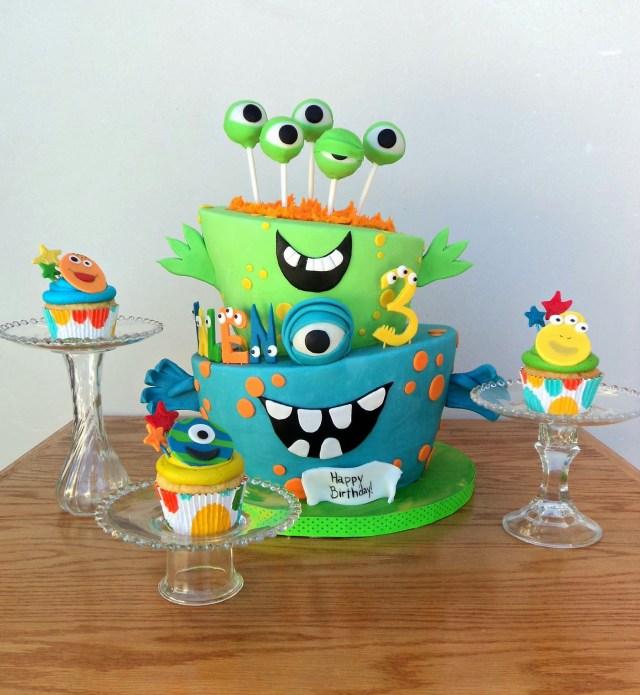 Monster Birthday Cake 11 Little Monster Birthday Cupcakes Photo Little Monster Birthday