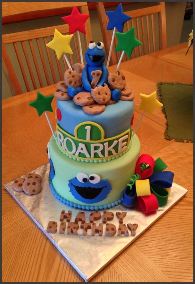 Monster Birthday Cake Cookie Monster Themed 1st Birthday Cake Cakecentral