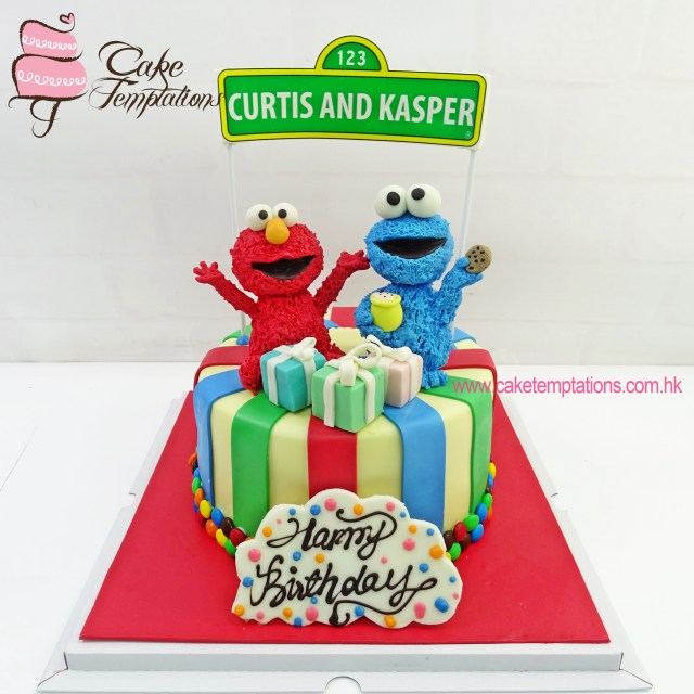 Monster Birthday Cake Elmo And Cookie Monster Birthday Cake 1st Birthday Hundred Days
