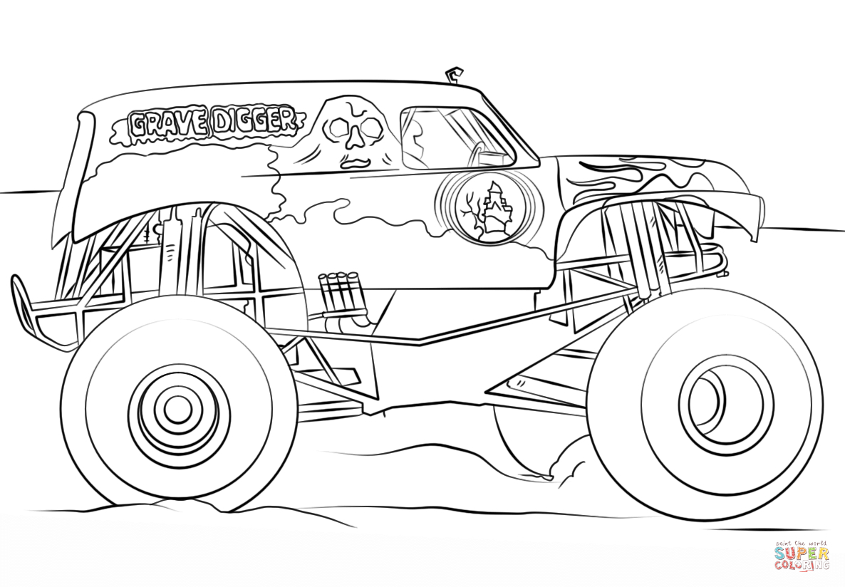 Monster Jam Coloring Pages Grave Digger Monster Truck Coloring Page Free Printable Coloring Pages