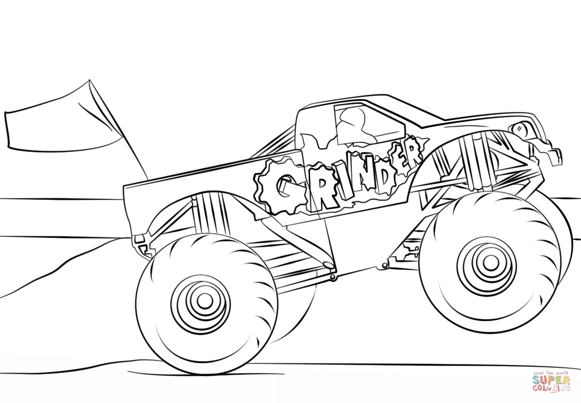 Monster Truck Coloring Page Grinder Monster Truck Coloring Page Free Printable Coloring Pages