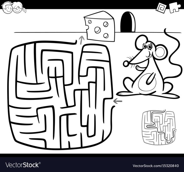 Mouse Coloring Page Maze With Mouse Coloring Page Royalty Free Vector Image