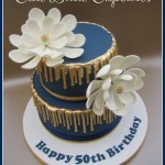Navy Birthday Cake Gold Navy 50th Birthday Cake Heidi Stone Flickr
